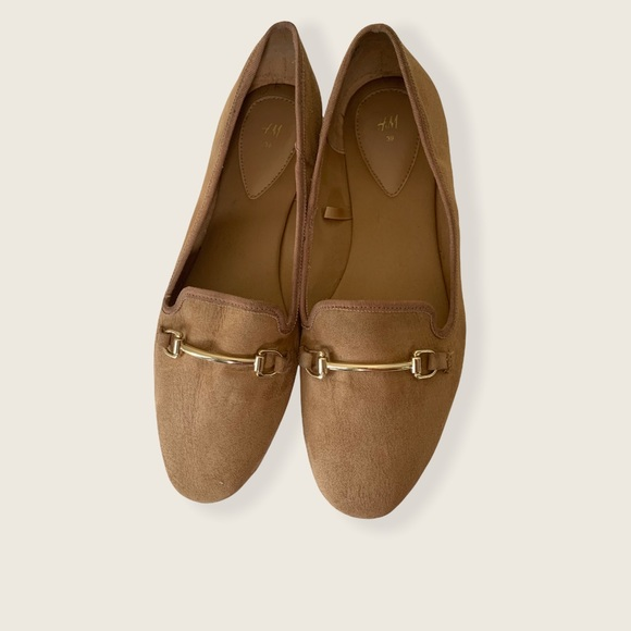 H&M Faux Suede Ballet Flats with Metal Buckle